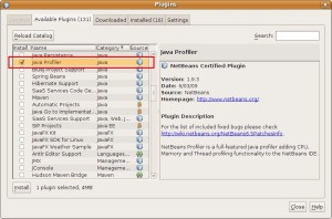 Instalando el profiler en NetBeans