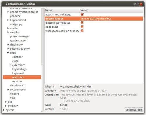 Cambiar botones de Gnome Shell con dconf-editor